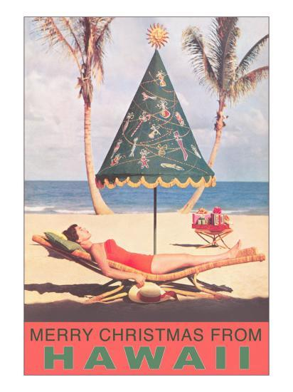 Christmas In Hawaii Images.Merry Christmas From Hawaii Conical Umbrella On Beach Art Print By Art Com