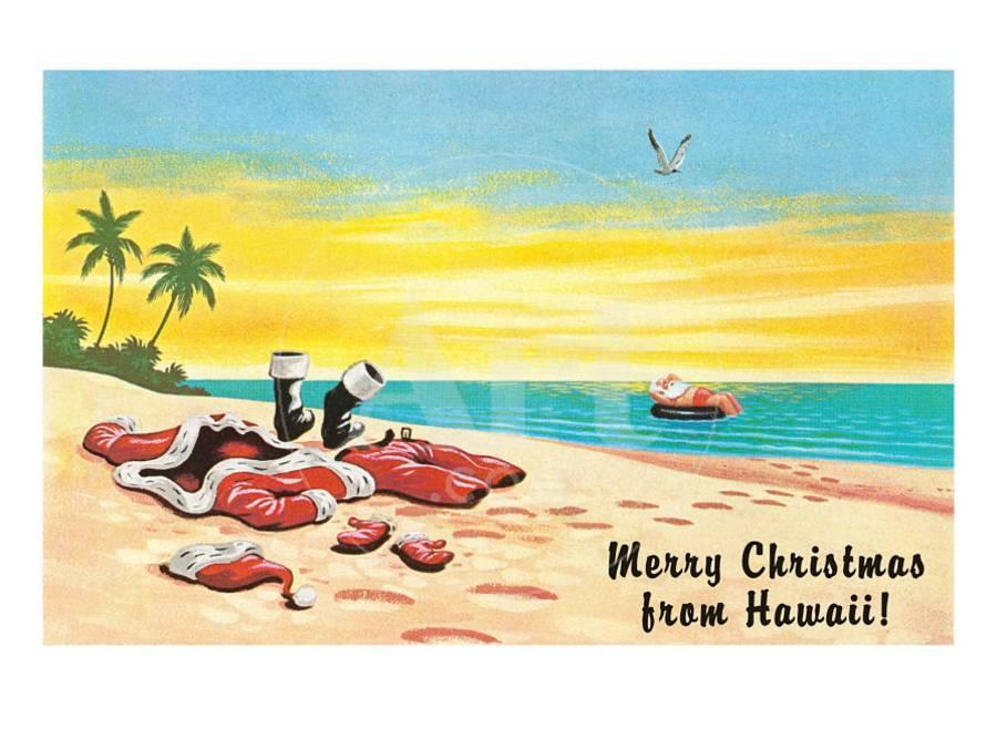 Merry Christmas from Hawaii, Santa\'s Clothes on Beach Art Print by ...