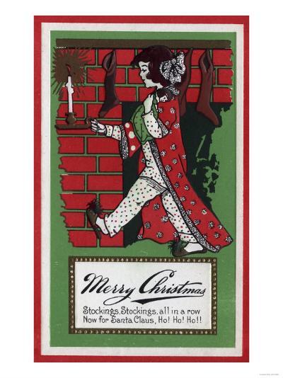 Merry Christmas - Girl Holding Doll and Candlestick-Lantern Press-Art Print