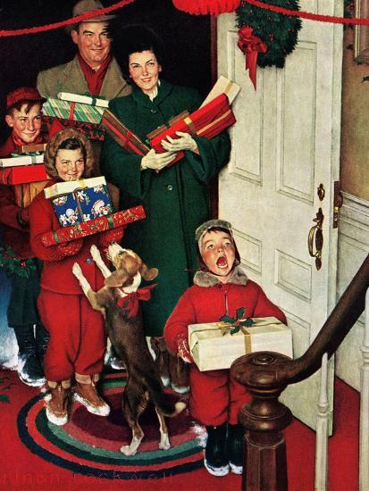 """Merry Christmas, Grandma!'-Norman Rockwell-Premium Giclee Print"