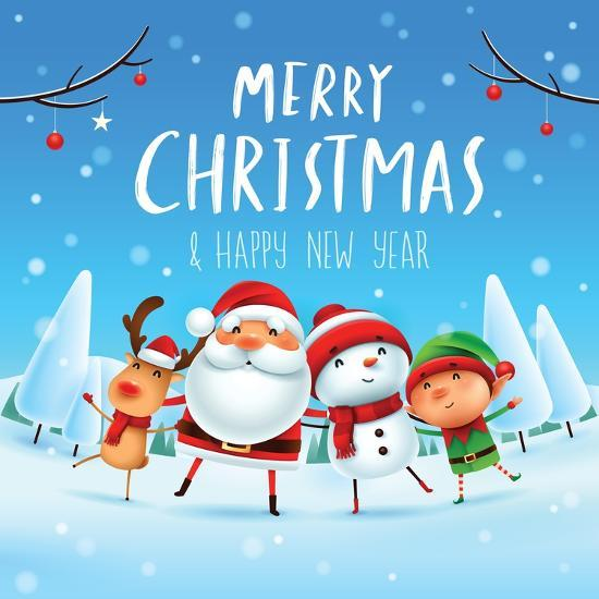 merry christmas happy christmas companions santa claus snowman reindeer and elf in christmas sn art print by ori artiste artcom