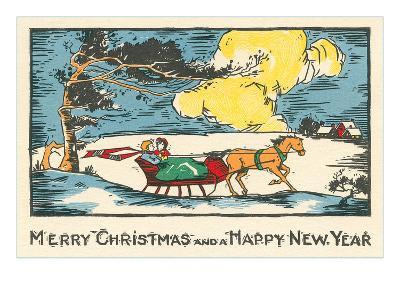 Merry Christmas, Horse-Drawn Sleigh--Art Print