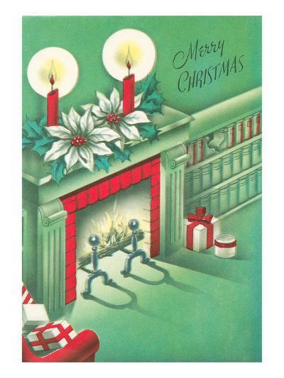 Merry Christmas, Living Room, Fireplace--Art Print