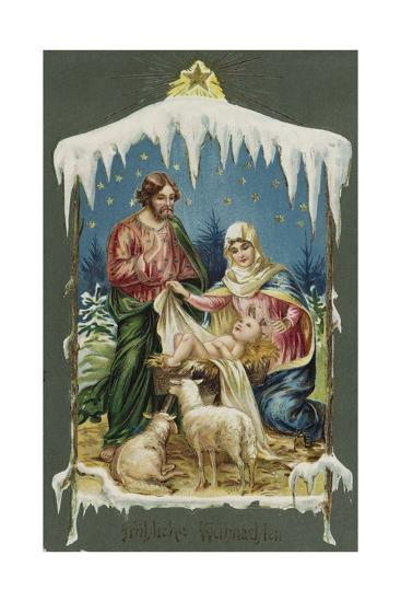 Merry Christmas Postcard with Nativity Scene--Giclee Print
