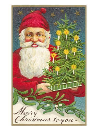 Merry Christmas, Santa Claus and Tree--Art Print