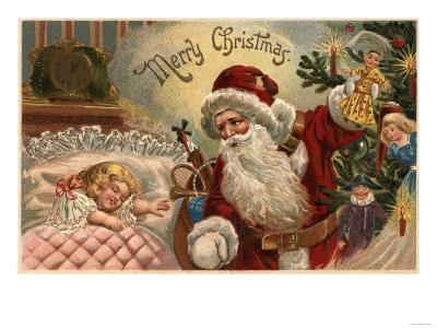 Merry Christmas - Santa Holding Doll, Sleeping Girl-Lantern Press-Art Print