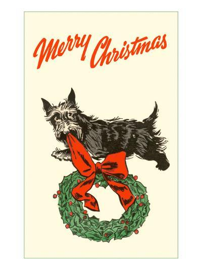 Merry Christmas, Scotty with Wreath--Art Print