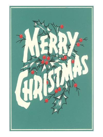 Merry Christmas, Sea Green--Art Print