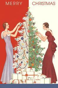 Merry Christmas, Thin Ladies Decorating Tree
