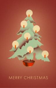 Merry Christmas, Tree with Candles