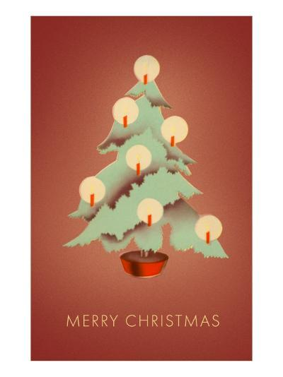 Merry Christmas, Tree with Candles--Art Print