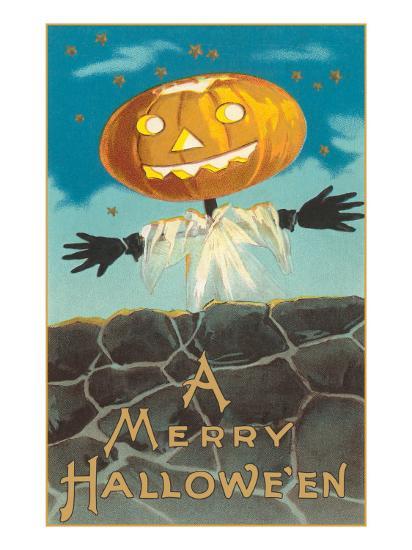Merry Halloween, Jack O'Lantern by Wall--Art Print