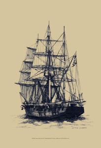 Antique Ship in Blue II by Mersky