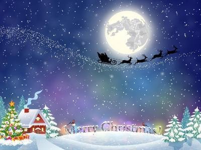 Meryy Christmas and Happy New Year Vintage Greeting Card on Winter Village. Santa Claus with Deers-DRogatnev-Art Print