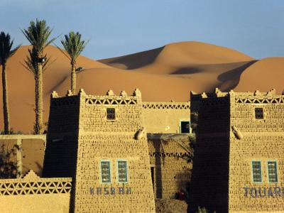Merzouga a Desert Kasbah Backing onto Giant Sand Dunes of Erg Chebbi in Eastern Morocco, Morocco-Andrew Watson-Photographic Print
