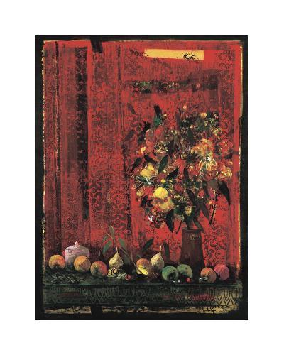 Mesa con Mantel Rojo-Juaquin Hidalgo-Giclee Print