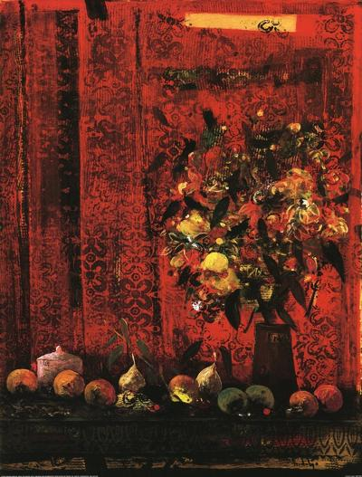 Mesa Con Mantel Rojo-Joaquin Hidalgo-Art Print