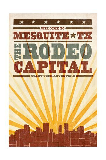 Mesquite, Texas - Skyline and Sunburst Screenprint Style-Lantern Press-Art Print