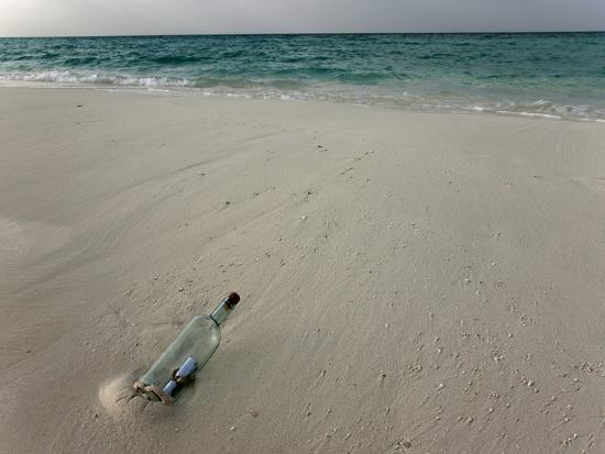 Message in a Bottle on a Tropical Beach, Kuramathi Island, Ari Atoll, Maldives, Indian Ocean, Asia-Angelo Cavalli-Photographic Print