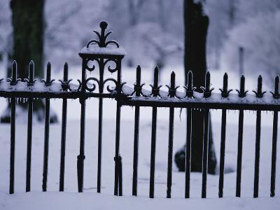 Metal Fence in a Snow Covered Landscape--Photographic Print
