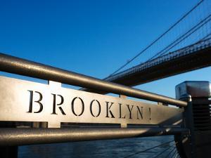 Metal Sign for the Brooklyn Bridge in New York