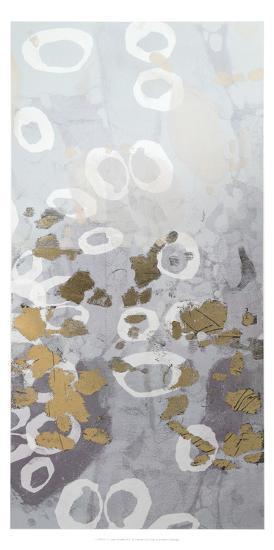 Metallic Foil Golden Droplets II-Jennifer Goldberger-Art Print