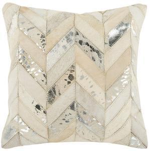 Metallic Herringbone Cowhide Pillow