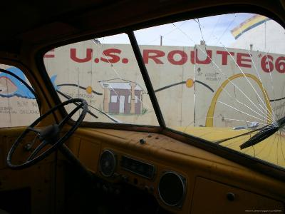Meteor City's Fence Map of Old Route 66 Framed by a Truck Windshield-Stephen St^ John-Photographic Print