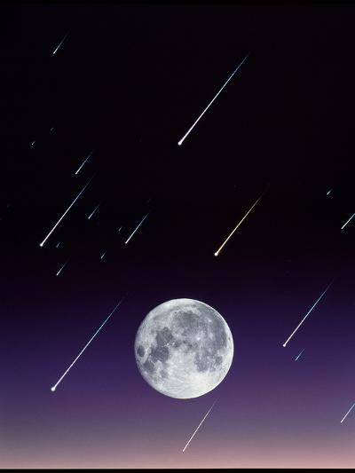 Meteors And Full Moon-David Nunuk-Photographic Print