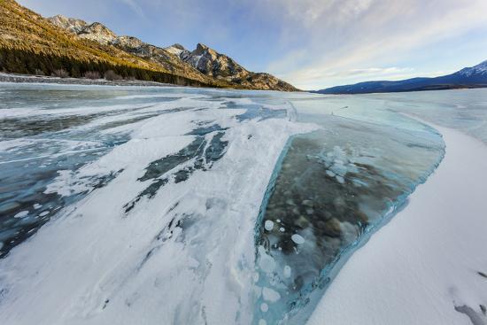 Methane ice bubbles under clear ice on Abraham Lake near Nordegg, Alberta, Canada-Chuck Haney-Photographic Print