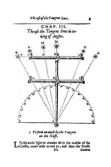 Method of Measuring Angles with a Cross-Staff, 1636--Giclee Print