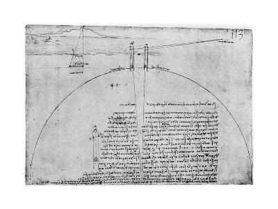 Method of Measuring the Surface of the Earth, Late 15th or Early 16th Century-Leonardo da Vinci-Giclee Print