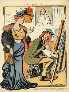 Phryne: Caricature of an Artist's Model, from the Back Cover of 'Le Rire', 23rd February 1907 by Metivet