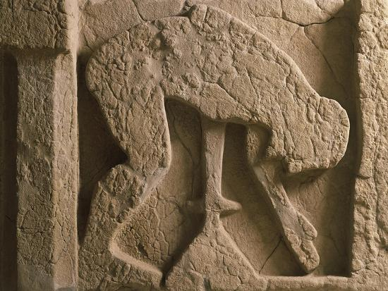 Metope Depicting Suicide of Ajax Who Throws Himself onto His Sword, Relief of Ancient Thesaurus--Giclee Print
