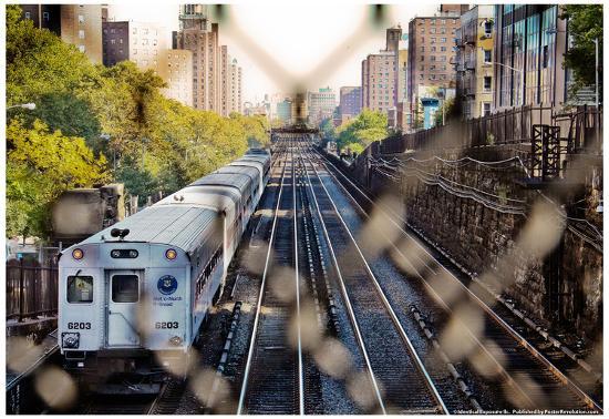 Metro North Train Through Fence--Poster