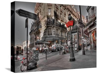 Metro Red Paris-AJ Messier-Stretched Canvas Print