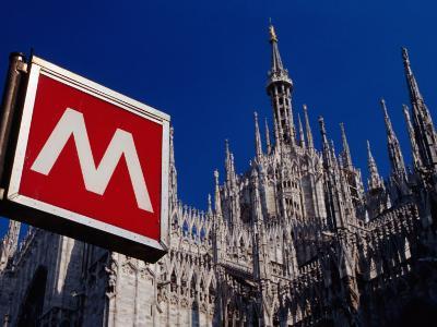 Metro Sign and Il Duomo, Milan, Italy-Dallas Stribley-Photographic Print