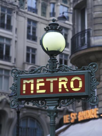 Metro Signage in Paris, France-Bill Bachmann-Photographic Print