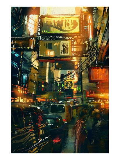 Metropolis Shopping District--Art Print
