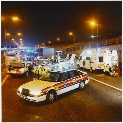 Metropolitan Police Car at the Scene of a Road Traffic Accident--Photographic Print