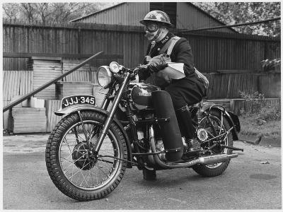 Metropolitan Police Officer on a Triumph Motorcycle During World War II--Photographic Print