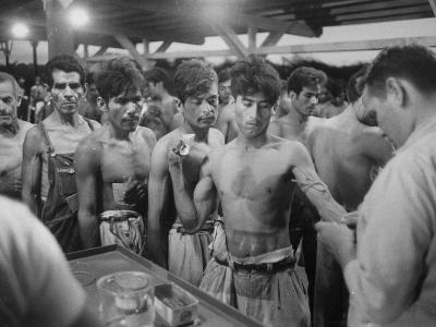 """Mexican """"Braceros"""" Being Examined at Reception Center before Being Put to Work--Photographic Print"""