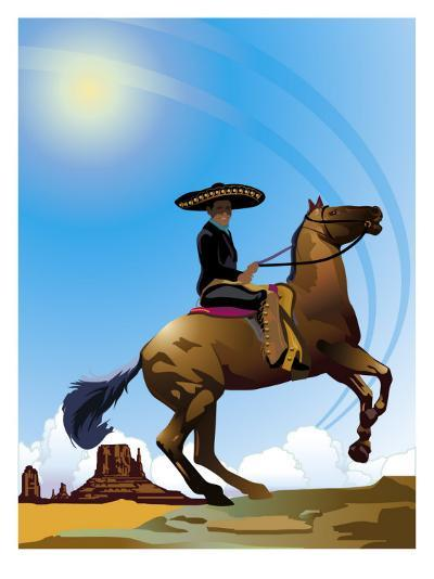 Mexican Caballero on Horseback, Grouped Elements--Art Print