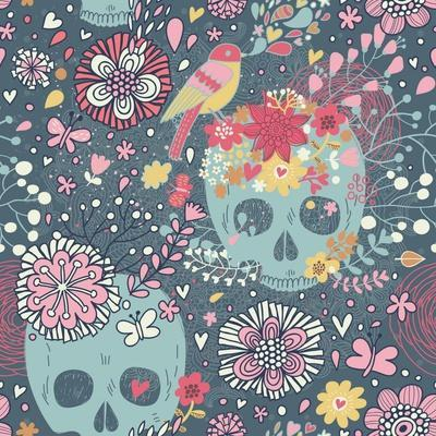 Mexican Concept Background with Flowers, Skulls and Birds-smilewithjul-Art Print