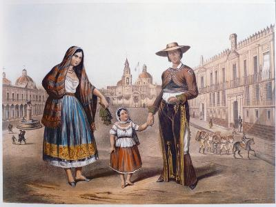 Mexican Family in Plaza Santo Domingo, Mexico City, C.1840-German School-Giclee Print