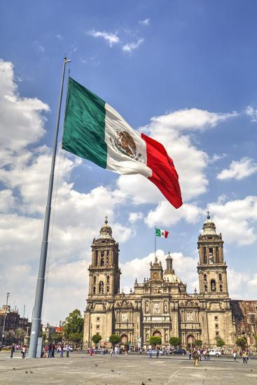 Mexican Flag, Plaza of the Constitution (Zocalo), Metropolitan Cathedral in Background-Richard Maschmeyer-Photographic Print