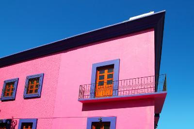 Mexican Pink House Facade Detail Wooden Doors-holbox-Photographic Print