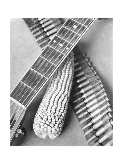 Mexican Revolution, Guitar, Corn and Ammunition Belt, Mexico City, 1927-Tina Modotti-Photographic Print