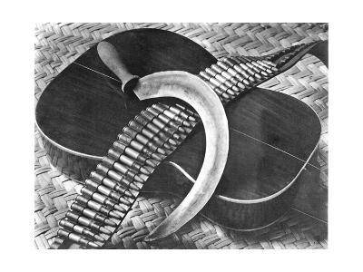 Mexican Revolution: Guitar, Sickle and Ammunition Belt, Mexico City, 1927-Tina Modotti-Photographic Print