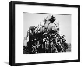 Mexican Revolutionaries Take over a Locomotive at Cuernavaca, Morelos-null-Framed Photographic Print